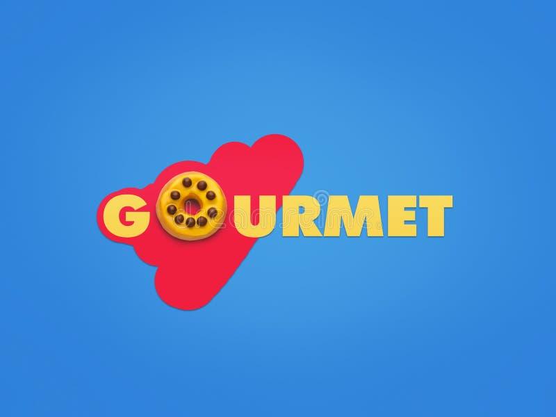 Gourmet da palavra no fundo criativo fotos de stock
