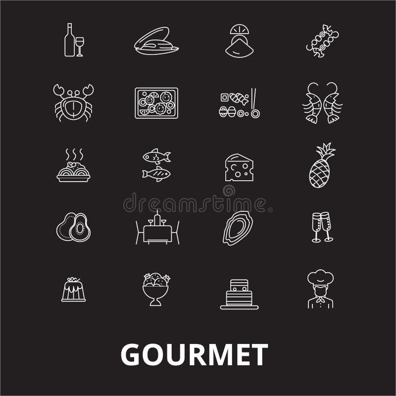 Gourmet editable line icons vector set on black background. Gourmet white outline illustrations, signs, symbols vector illustration