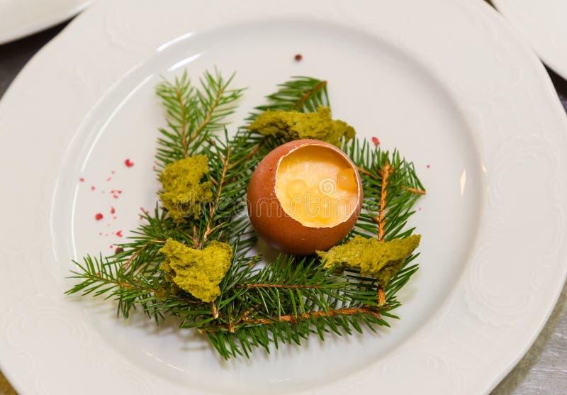Gourmet egg dish for Easter stock image