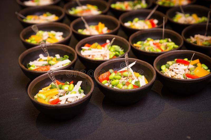 Gourmet Food Poke Bowl Appetizer at Catered Buffet royalty free stock image