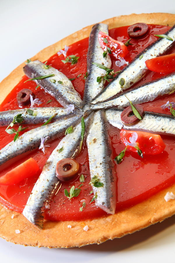 Gourmet food sardine stock photos