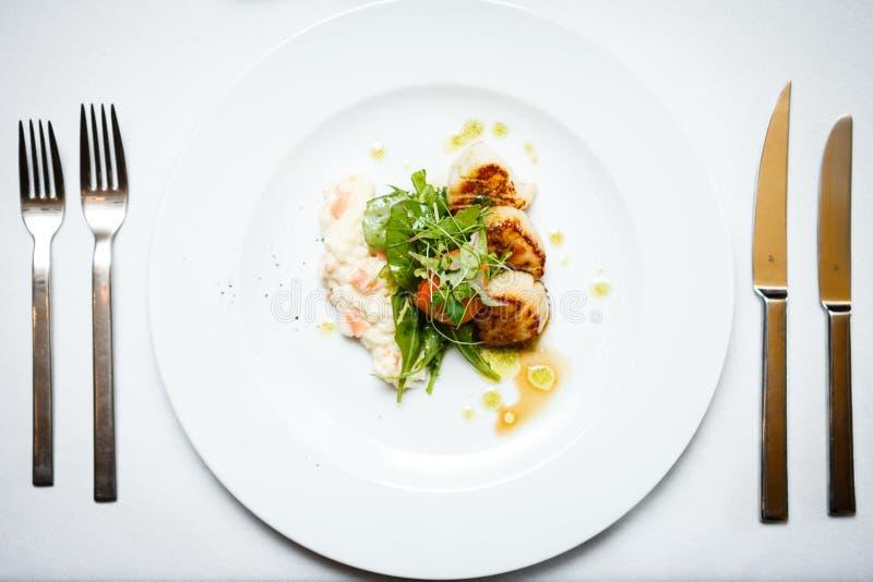 Gourmet food scallops stock image