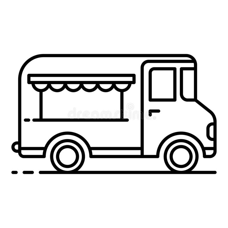 Gourmet food truck icon, outline style. Gourmet food truck icon. Outline gourmet food truck vector icon for web design isolated on white background royalty free illustration