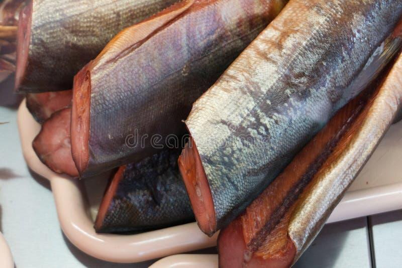 Gourmet fresco do alimento fumado dos salmões de sockeye grelhado foto de stock royalty free