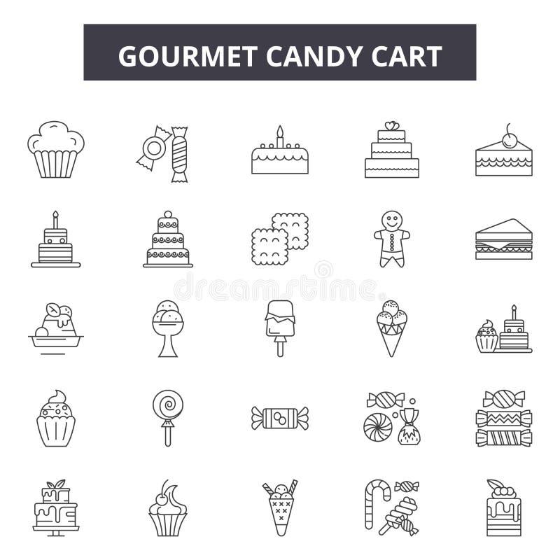 Gourmet- godisvagnslinje symboler, tecken, vektoruppsättning, översiktsillustrationbegrepp vektor illustrationer