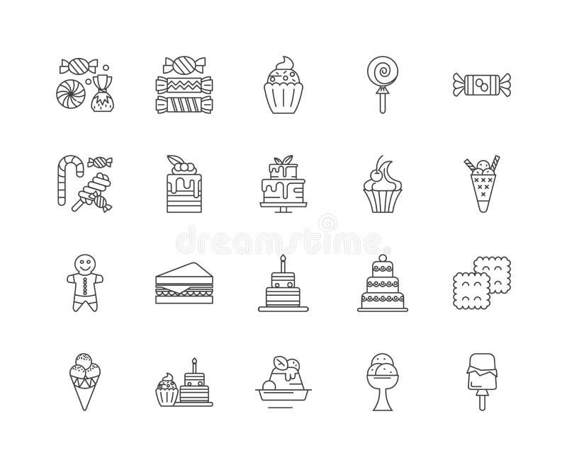 Gourmet- godisvagnslinje symboler, tecken, vektorupps?ttning, ?versiktsillustrationbegrepp royaltyfri illustrationer