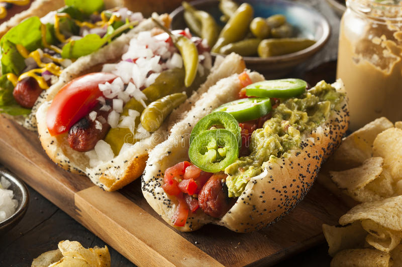 Gourmet Grilled All Beef Hots Dogs stock image