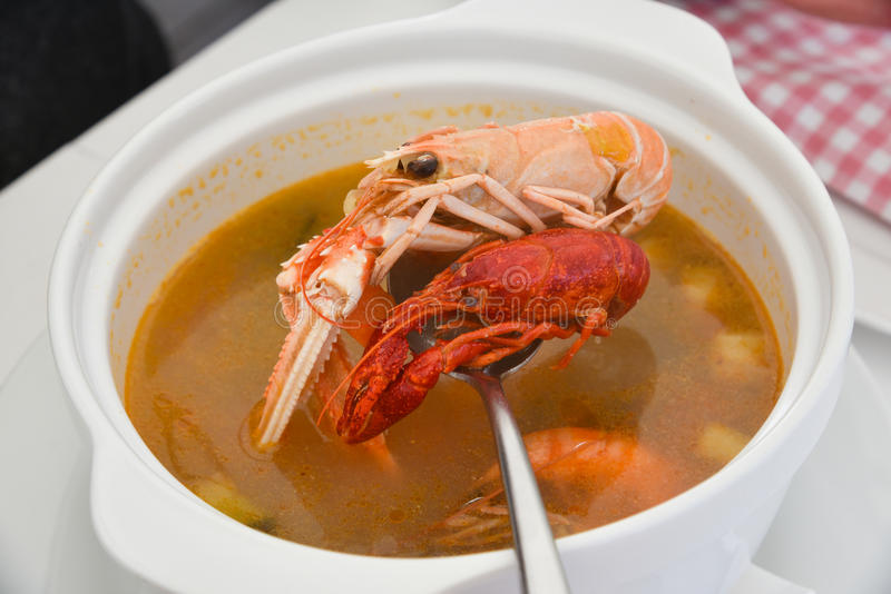 Gourmet- havs- soppa royaltyfri fotografi