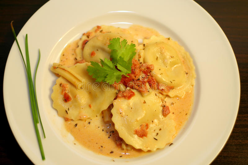 Gourmet Italian Pasta. Photograph of a yummy gourmet Italian ravioli pasta dish with creamy tomato sauce on a classic white plate royalty free stock photography