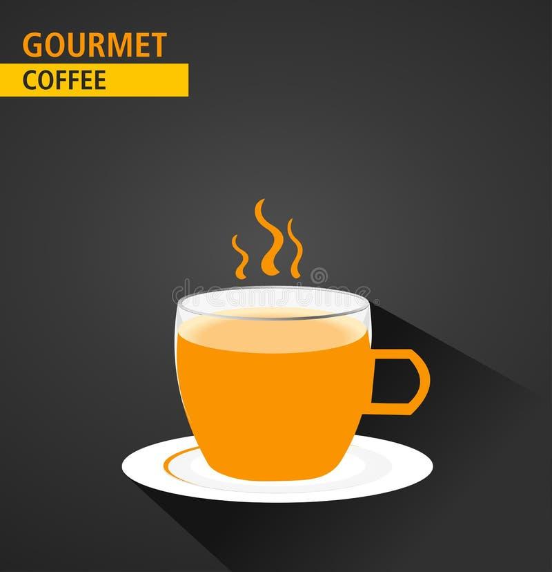 Gourmet- kaffe, meny för begrepp för etikett för kaffekopp, lägenhetdesign med lång skugga stock illustrationer