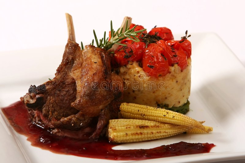 Gourmet Lamb Chop Meal stock photos
