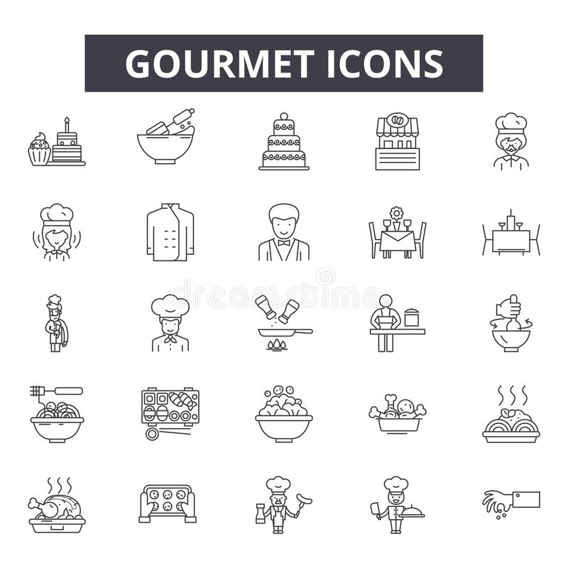 Gourmet line icons for web and mobile design. Editable stroke signs. Gourmet  outline concept illustrations vector illustration