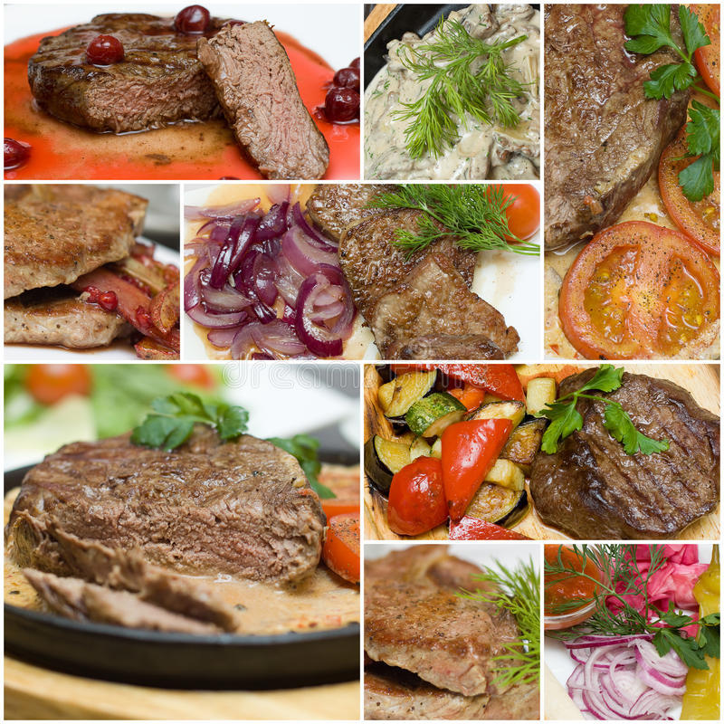 Gourmet meat collage - beef, veal and pork. Steak with garnish royalty free stock photography