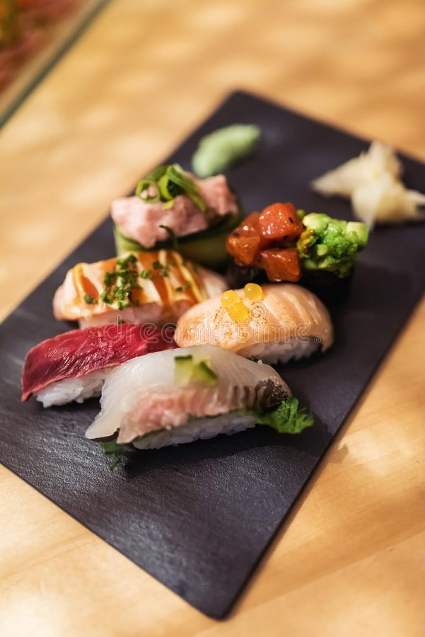 Gourmet nigiri moriawase set at restaurant royalty free stock images