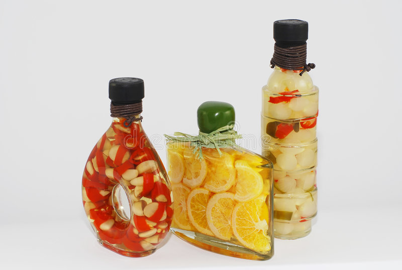 Gourmet oil bottles stock photo