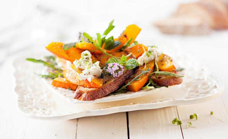 Gourmet Pumpkin Salad with Roasted Hokkaido royalty free stock images