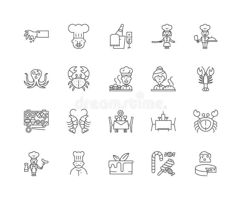 Gourmet restaurant line icons, signs, vector set, outline illustration concept royalty free illustration