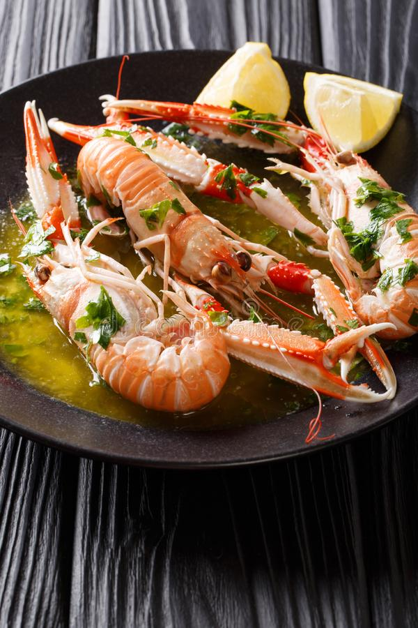 Gourmet seafood scampi or langoustine or Norway lobster are served on a black plate with sauce and lemon. vertical royalty free stock images