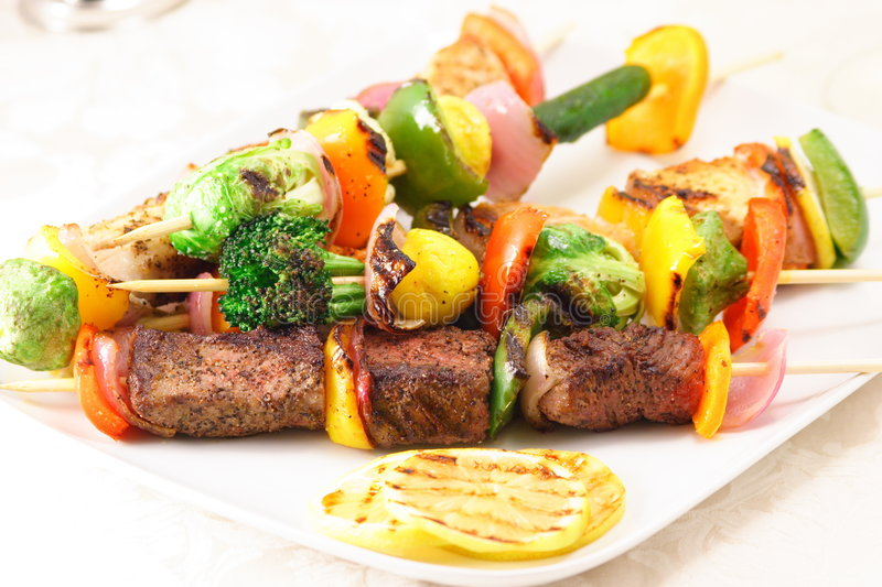 Gourmet skewers plate royalty free stock image