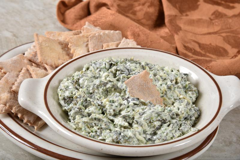 Gourmet spinach and sour cream dip royalty free stock photos