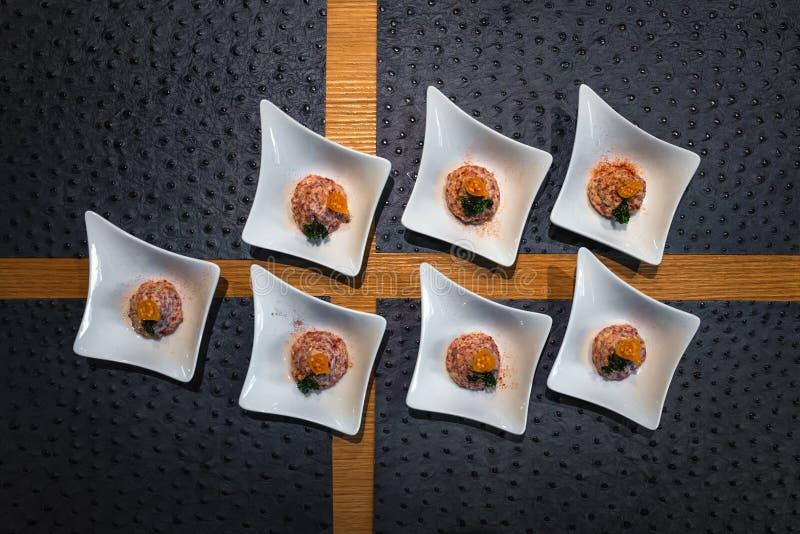 Gourmet starter food, top view setting stock photos