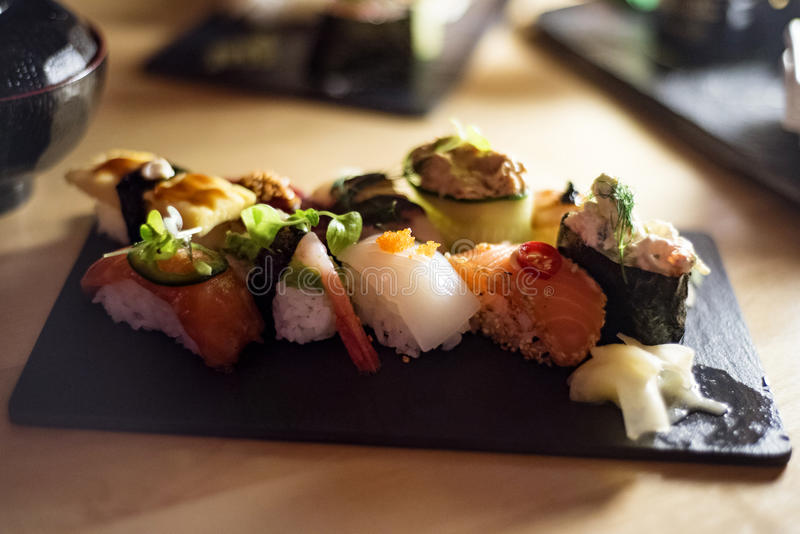 Gourmet sushi selection stock images