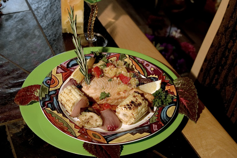 Gourmet Swordfish and grilled vegies stock image