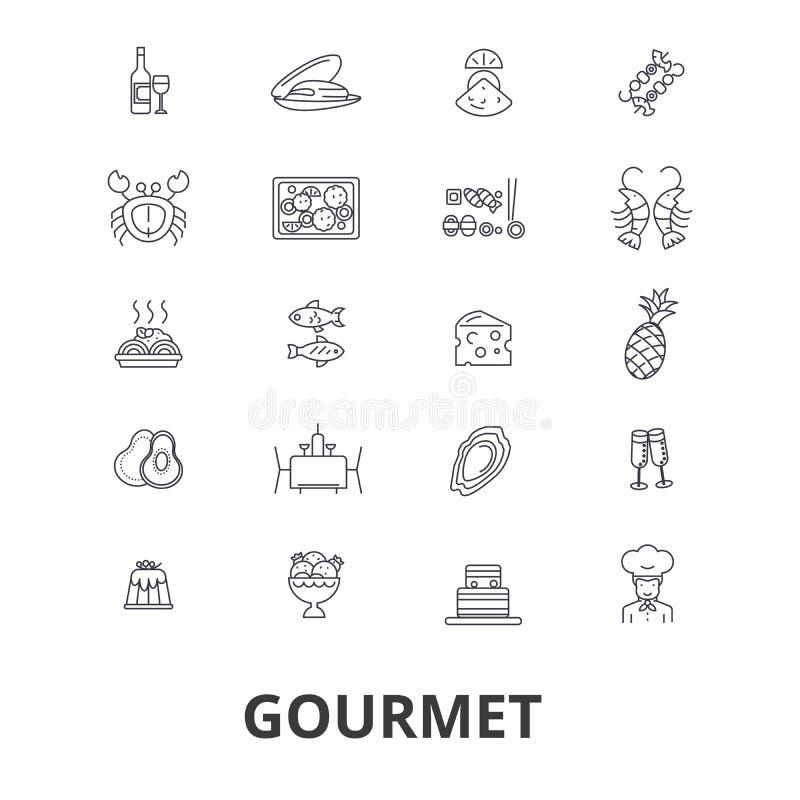 Gourmet- symbolsuppsättning vektor illustrationer