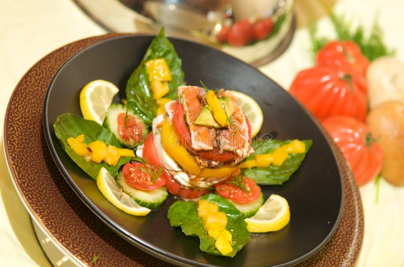 Gourmet Tomato Starter With Mozzarella And Basil Stock Image