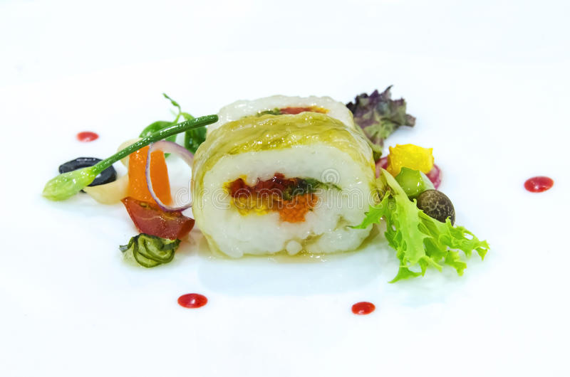 Gourmet vegetarian roll stock images