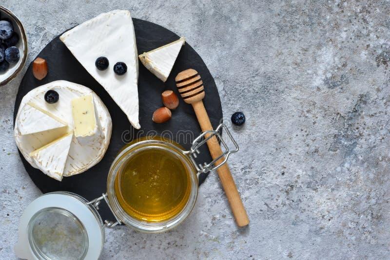 Gourmet- vit brieost eller camembert med bär, honung royaltyfria bilder