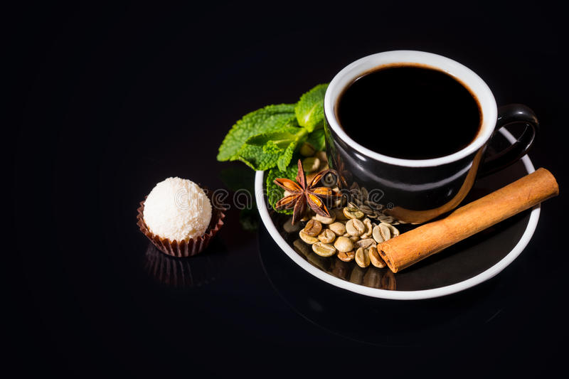 Gourmet White Chocolate Truffle with Black Coffee stock images