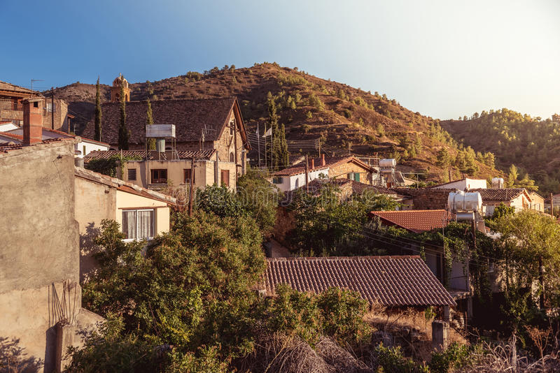Gourri village. A village in the Nicosia District of Cyprus. Col. Or tone tuned photo royalty free stock photos