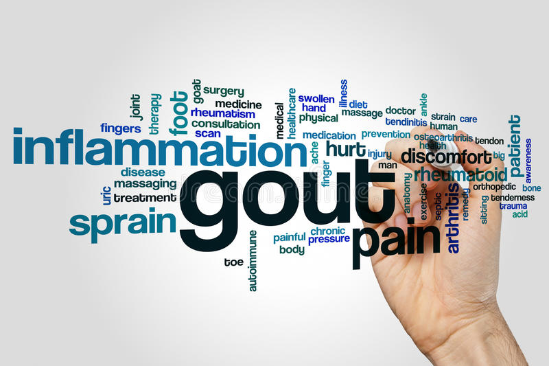 Gout word cloud. Concept on grey background royalty free stock photo