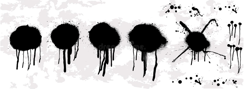 Goutte d'huile d'égoutture Calibre de pochoir de graffiti de jet illustration libre de droits