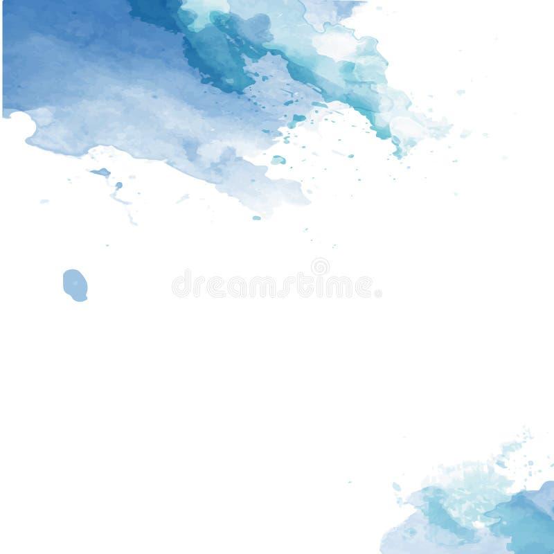 Goutte tirée par la main, tache Effets d'aquarelle Fond abstrait de couleurs saisonnières bleues d'hiver illustration stock