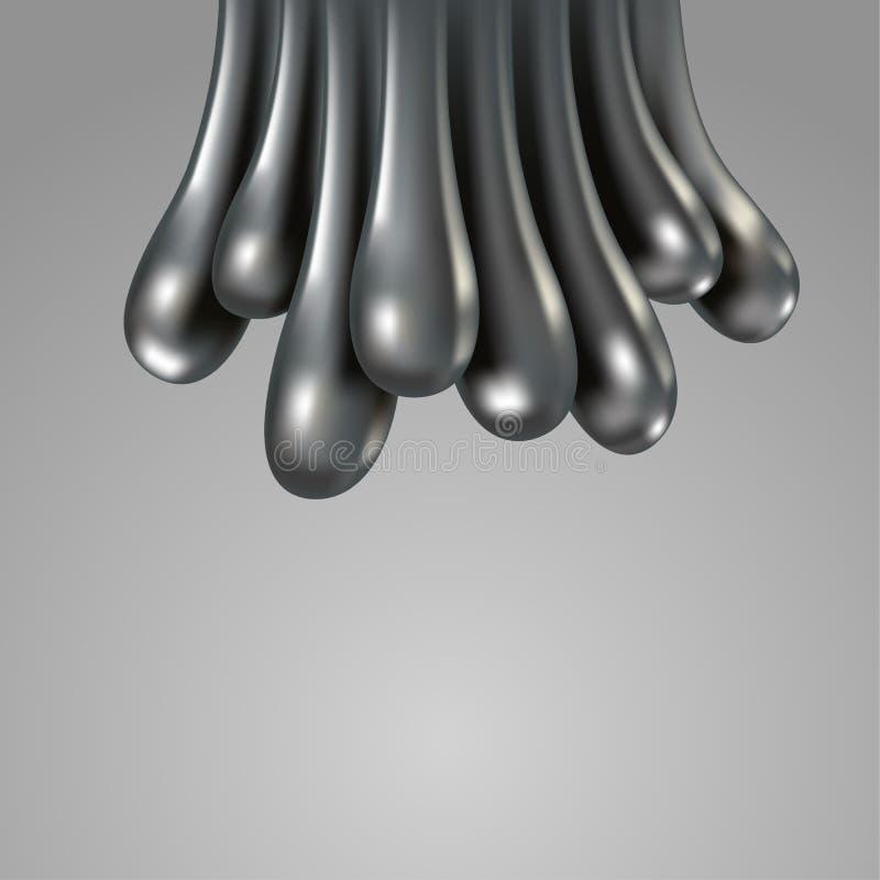 Gouttelettes réalistes en métal de chrome Baisses liquides en métal 3D illustration libre de droits