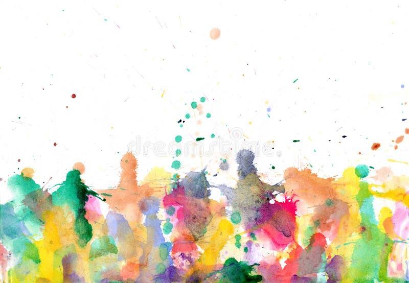 Gouttes - éclaboussures pour aquarelle de peintures sur le backg de papier d'abrégé sur art illustration stock