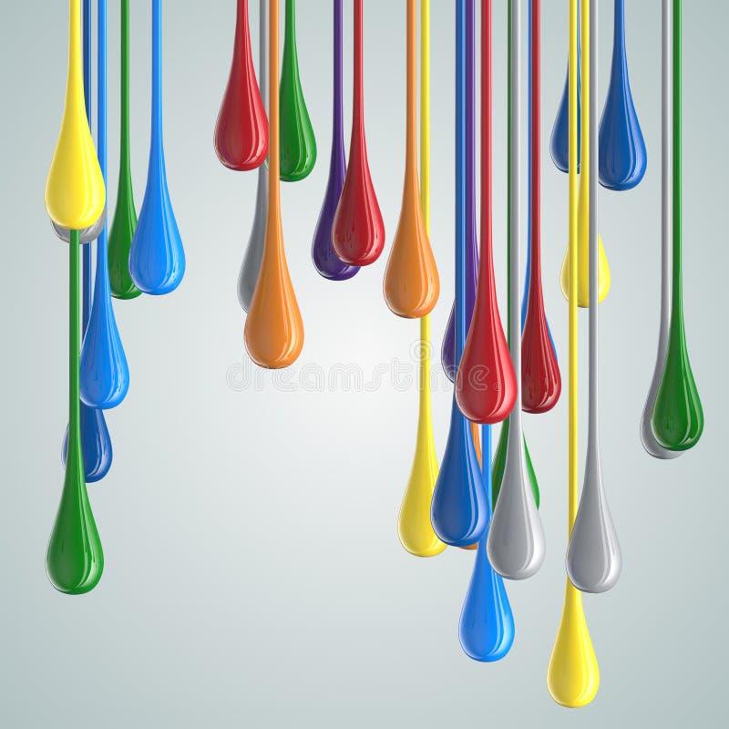 gouttes brillantes de baisse de peinture de la couleur 3D illustration de vecteur