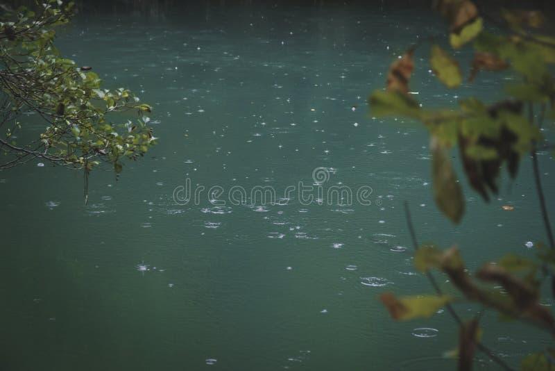 Gouttes de pluie sur l'eau images libres de droits