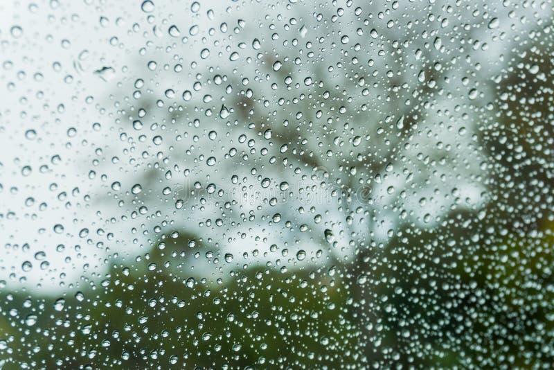 Gouttes de pluie sur la fenêtre ; arbres brouillés à l'arrière-plan ; profondeur de champ photos stock