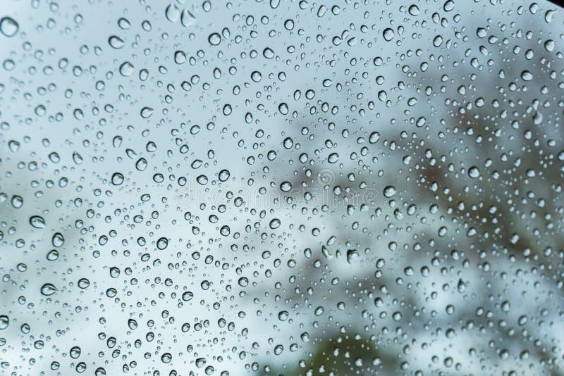 Gouttes de pluie sur la fenêtre ; arbres brouillés à l'arrière-plan ; profondeur de champ images libres de droits