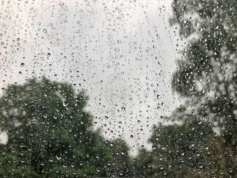 Gouttes de pluie sur le parapluie clair sous le ciel obscurci dans le jour pluvieux photo libre de droits