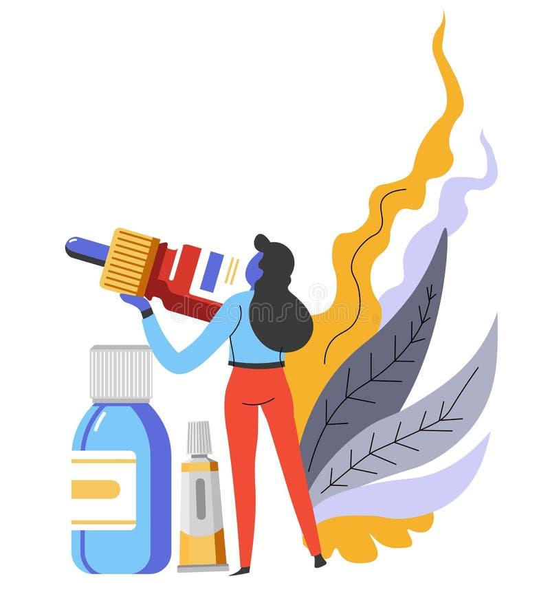 Gouttes pour nasales ou les yeux et médecine et traitement de femme d'onguent illustration libre de droits