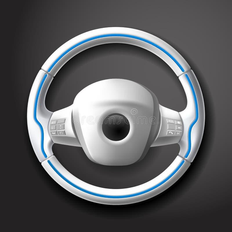 Gouvernail de direction blanc cher de voiture avec les boutons et le tressage en cuir illustration de vecteur