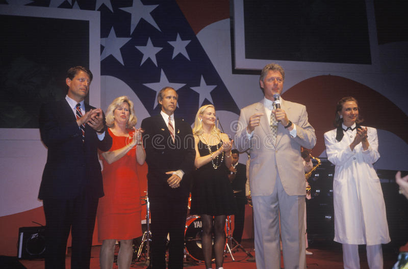 Gouverneur Bill Clinton spricht an einer Aufnahme an Little Rock-Parlamentsgebäude Convention Center im Jahre 1992, Little Rock,  stockbild