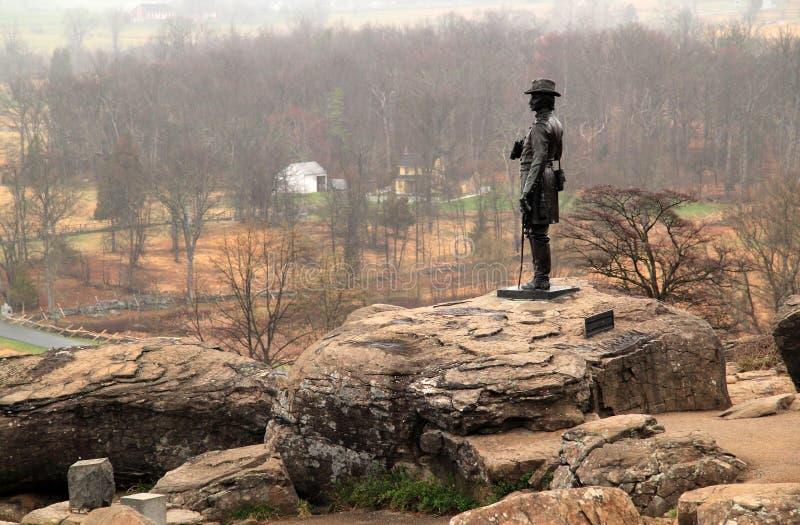 Gouverneur Warren Monument på Gettysburg arkivbild