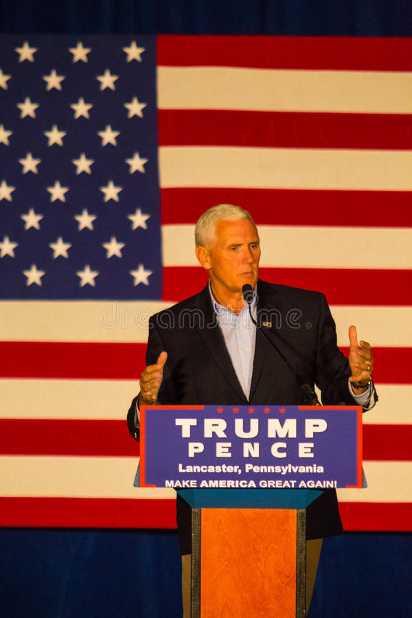 Gov Mike Pence Campaigns in Lancaster County. Lancaster, PA – August 9, 2016: GOP Vice Presidential candidate Gov. Mike Pence speaks during a campaign royalty free stock image