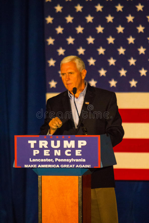 Gov Mike Pence at Rally in Lancaster County. Lancaster, PA – August 9, 2016: GOP Vice Presidential candidate Gov. Mike Pence speaks during a campaign stop stock photos