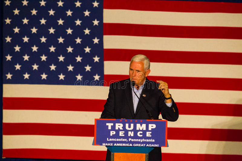 Gov Mike Pence Speaking at GOP Rally. Lancaster, PA – August 9, 2016: GOP Vice Presidential candidate Gov. Mike Pence speaks during a campaign stop in stock images